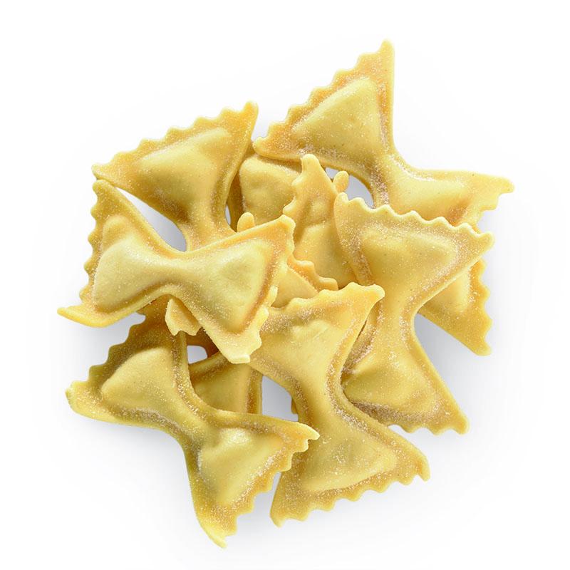 Farfalle rellenos de mortadella di Bologna y 3 quesos
