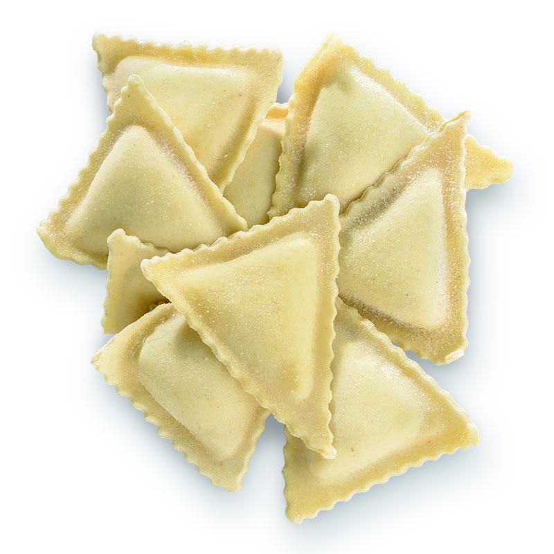 Triangoli rellenos de gorgonzola y pera