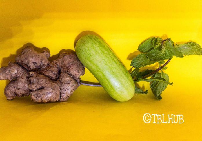 Detox Drinks : Ginger, Mint Leaves, Cucumber