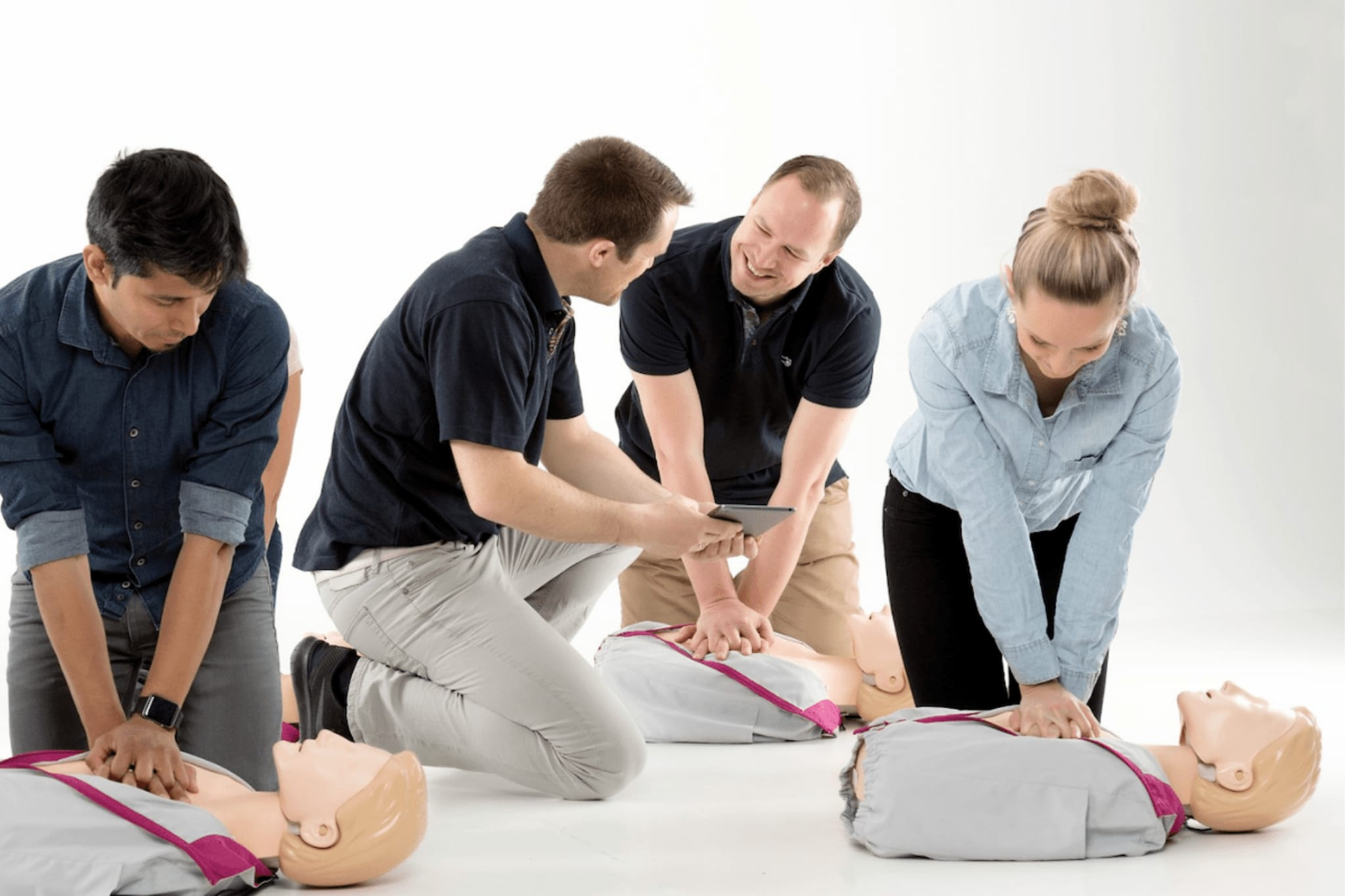 Trainers instructing their students.
