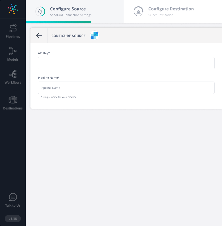 Sendgrid to Snowflake - Sendgrid Connection Settings Image