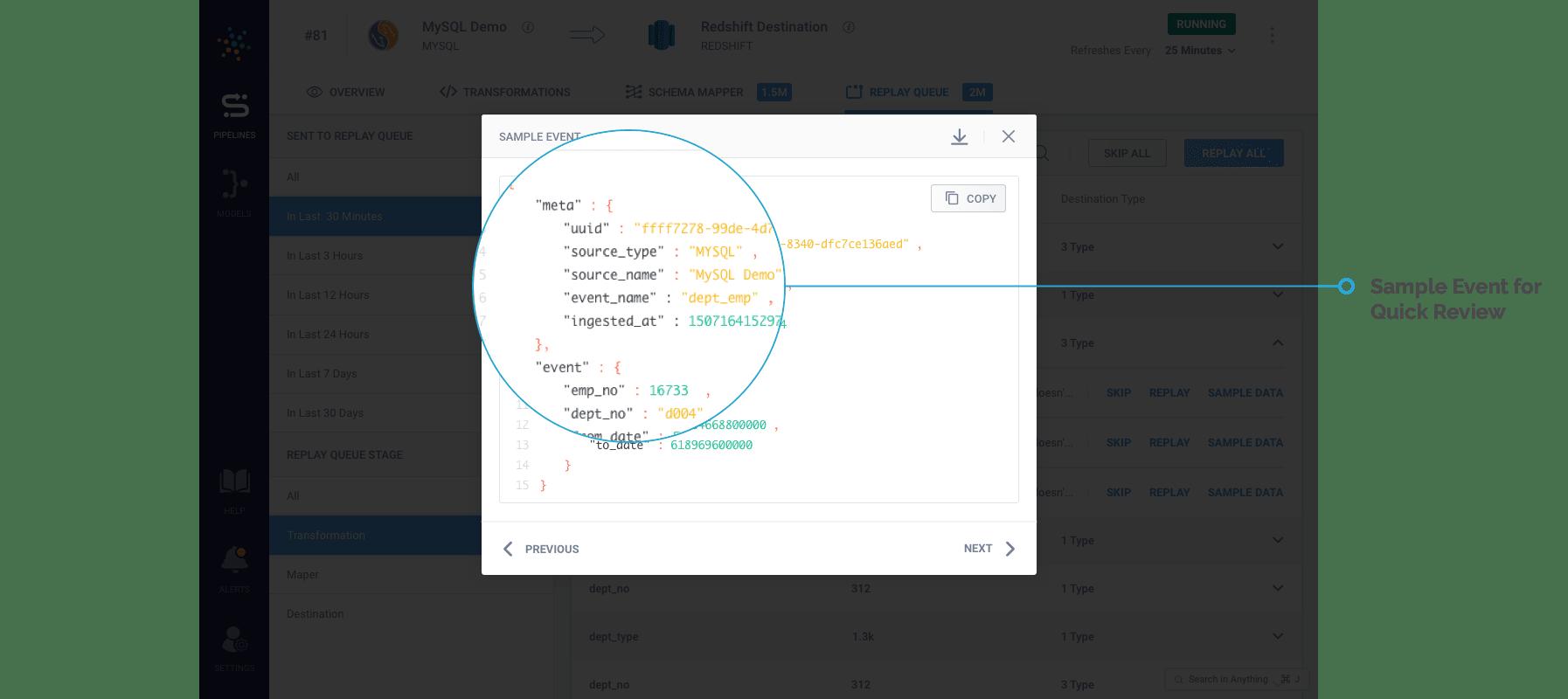 Sample Event Data On Hevo's Replay Queue