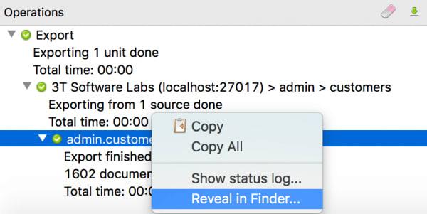 Reveal in Folder Option.