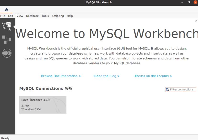 MySQL Workbench Database Dump : Connecting to the database