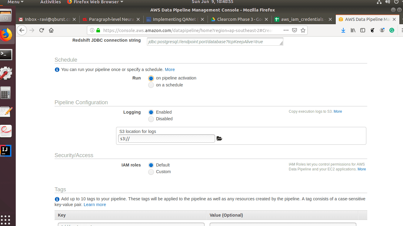 AWS data pipeline: Select the schedule for the activity to run