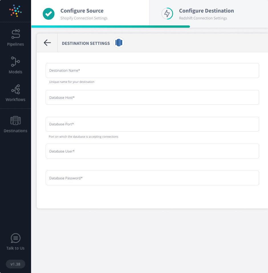 Configuring Redshift to connect with Shopify.