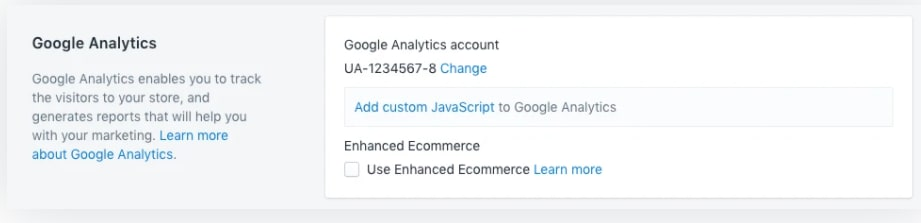 Connecting Google Analytics and Shopify.