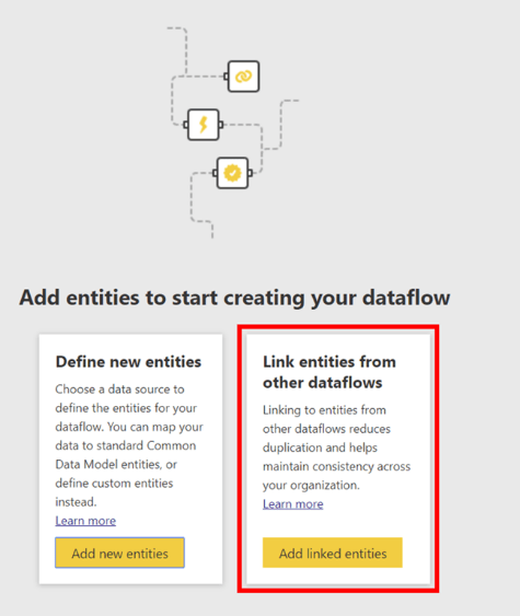 Adding Entities to the Dataflow.