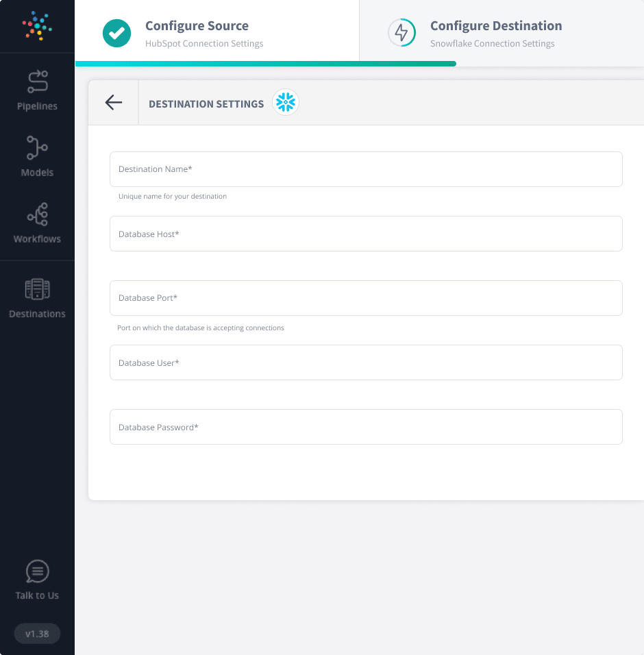 Configuring Snowflake to connect with HubSpot.