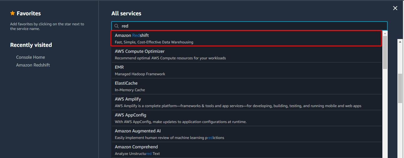 Selecting Amazon Redshift.