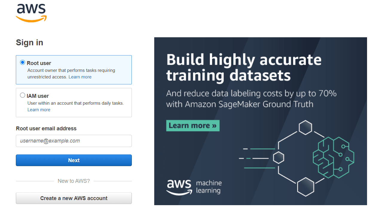 Signing  in to AWS Console.