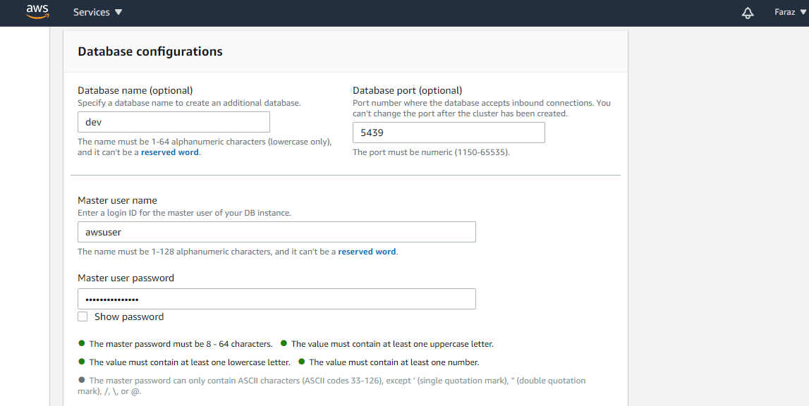 Configuring Redshift Database.