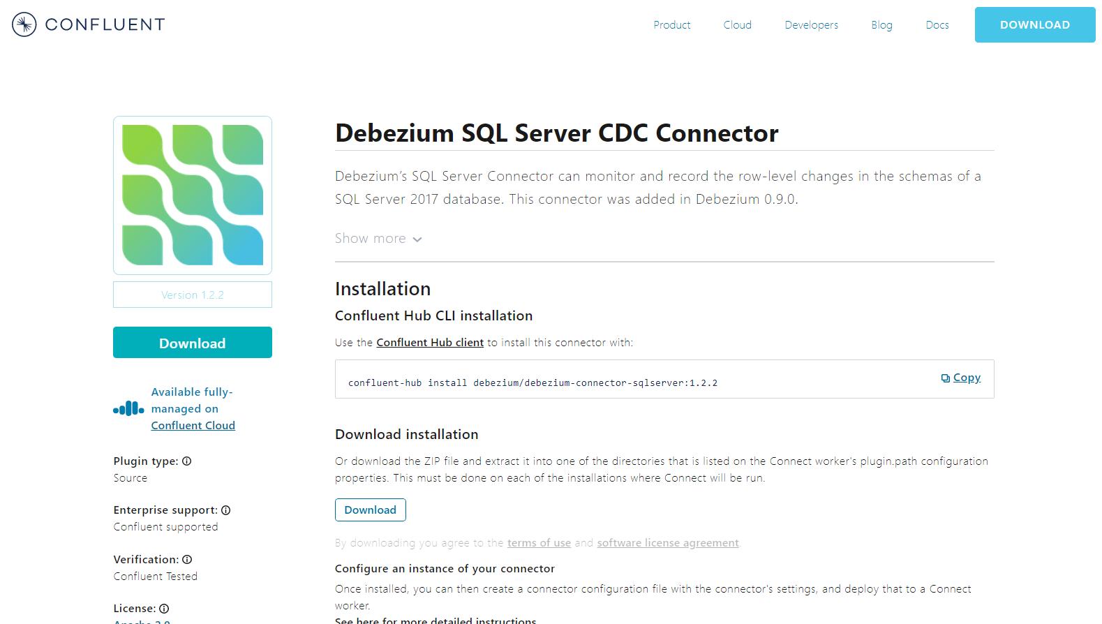Installing the Debezium SQL Server Connector.