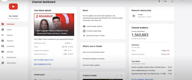 YouTube Dashboard.
