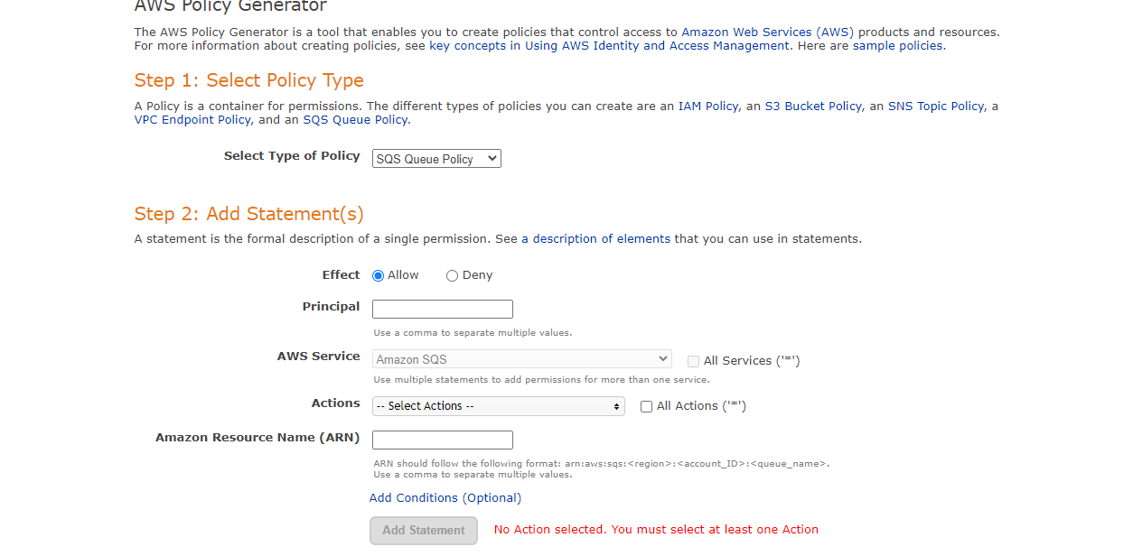 Selecting the Policy type in AWS Policy Generatoe.