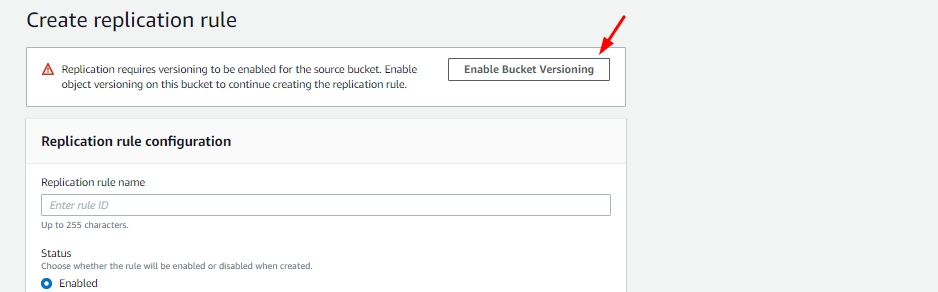 Enabling Bucket Versioning.