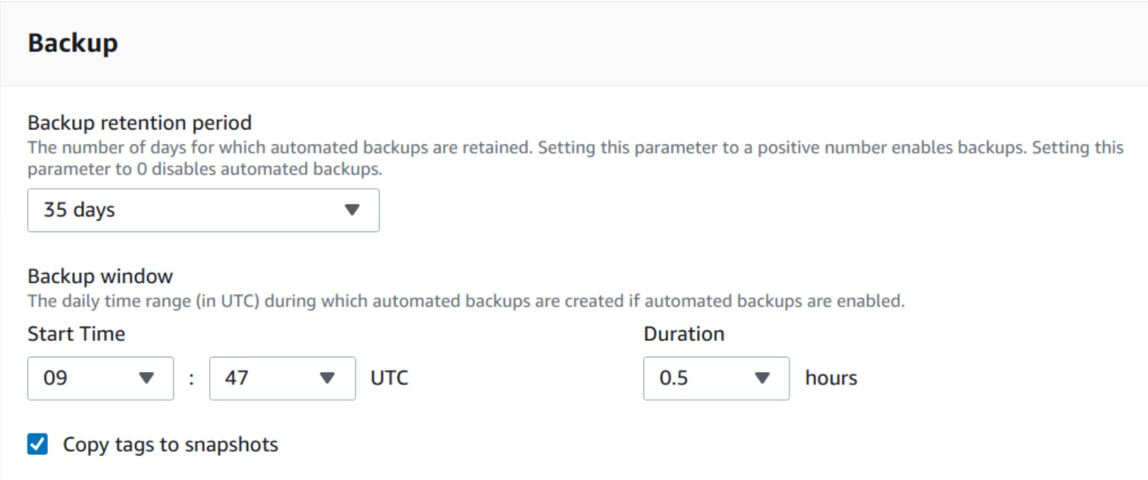 Enabling the backup in RDS.
