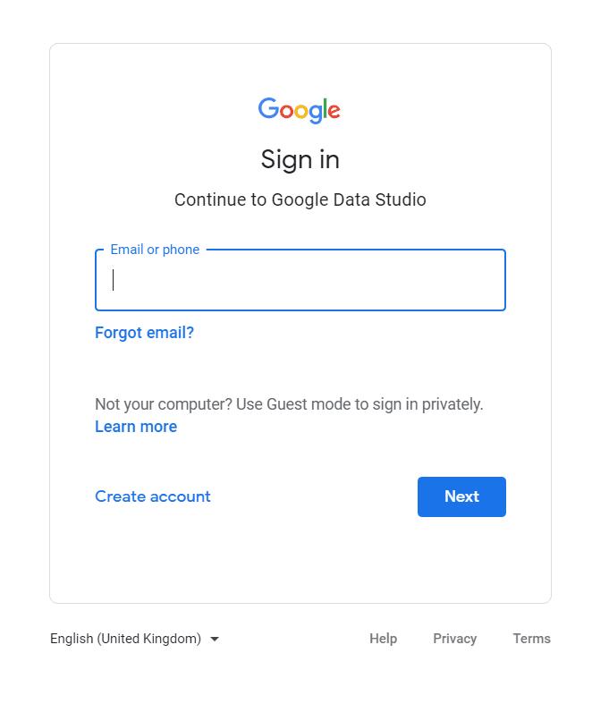 Google Data Studio Login Page.