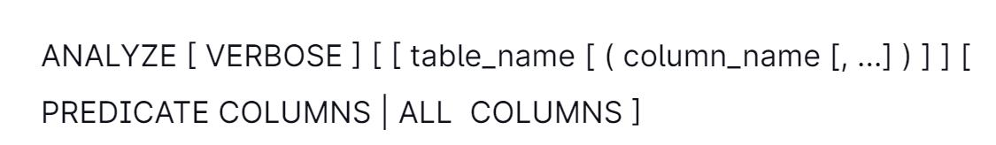 Amazon Redshift Analyze syntax.