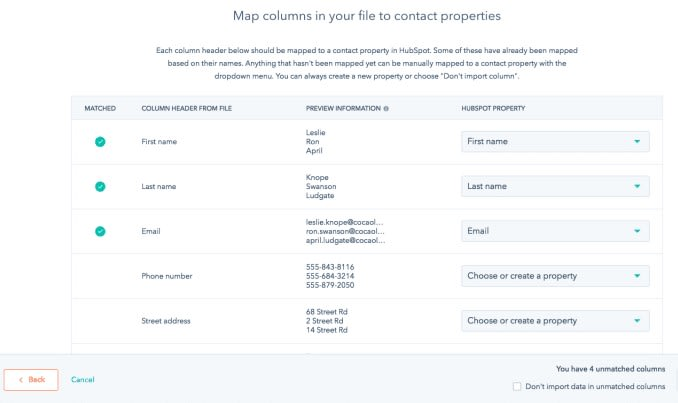 HubSpot Import Mapping