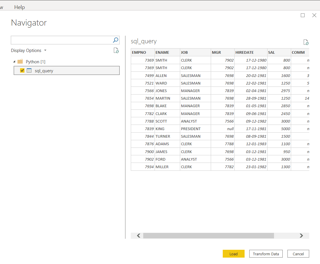 SQL SERVER TO POWER BI: SELECT TABLE