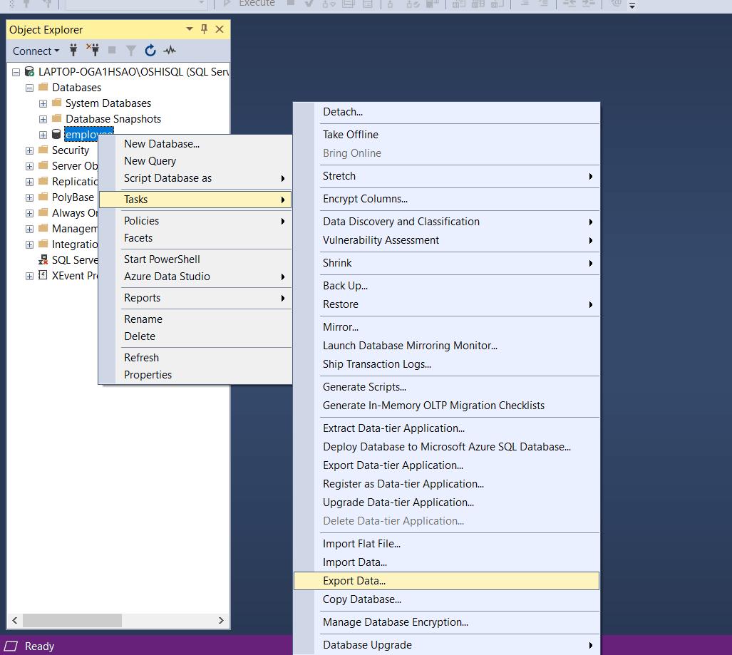 SQL SERVER TO POWER BI: EXPORT DATA