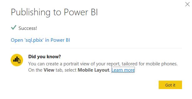 SQL SERVER TO POWER BI: COPY URL