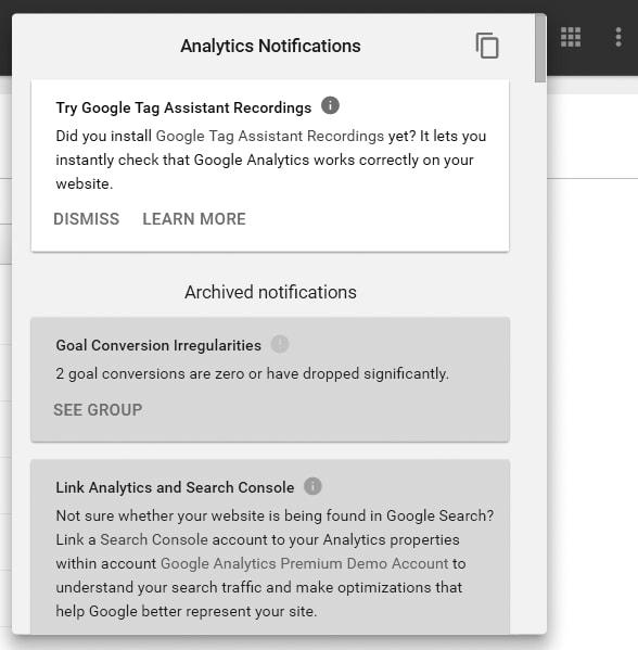 Image of Google Analytics Tools Notifications
