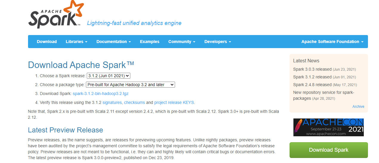Image of Spark Download Page