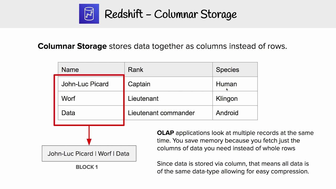 Columnar Storage in Redshift