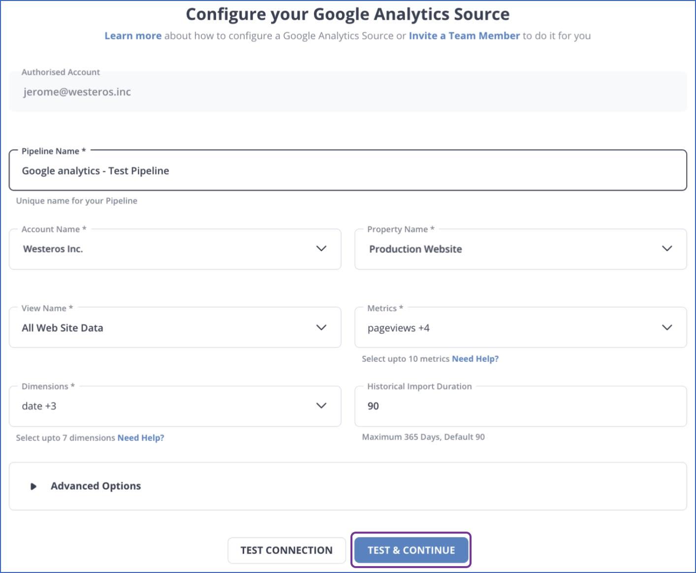 Google Analytics to Redshift: Source Config