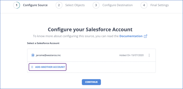 Salesforce to BigQuery- Source Config