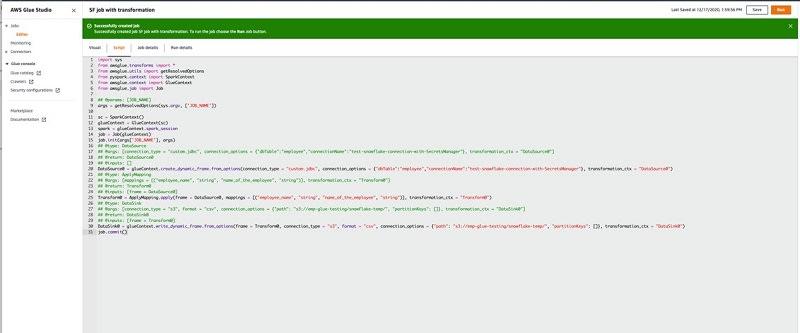 Amazon(AWS)  Snowflake Integration - Code executed