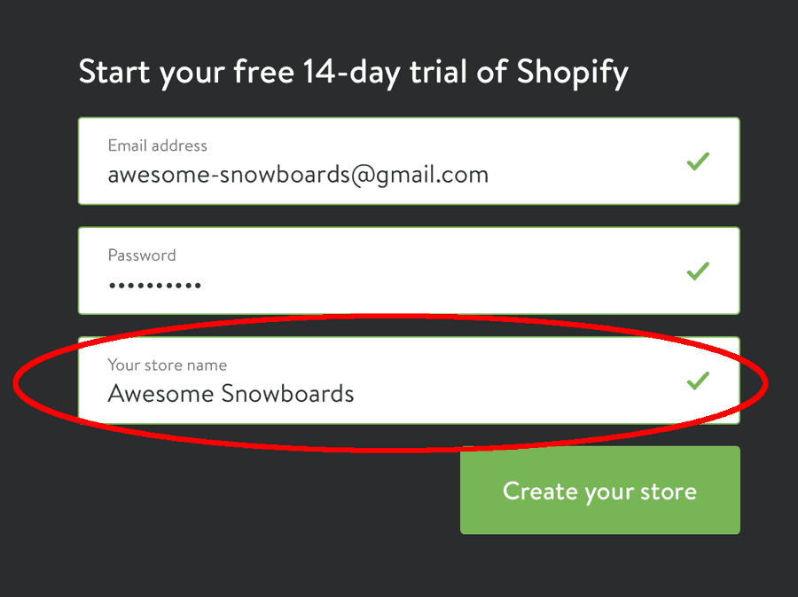 create a Shopify store: Entering store details