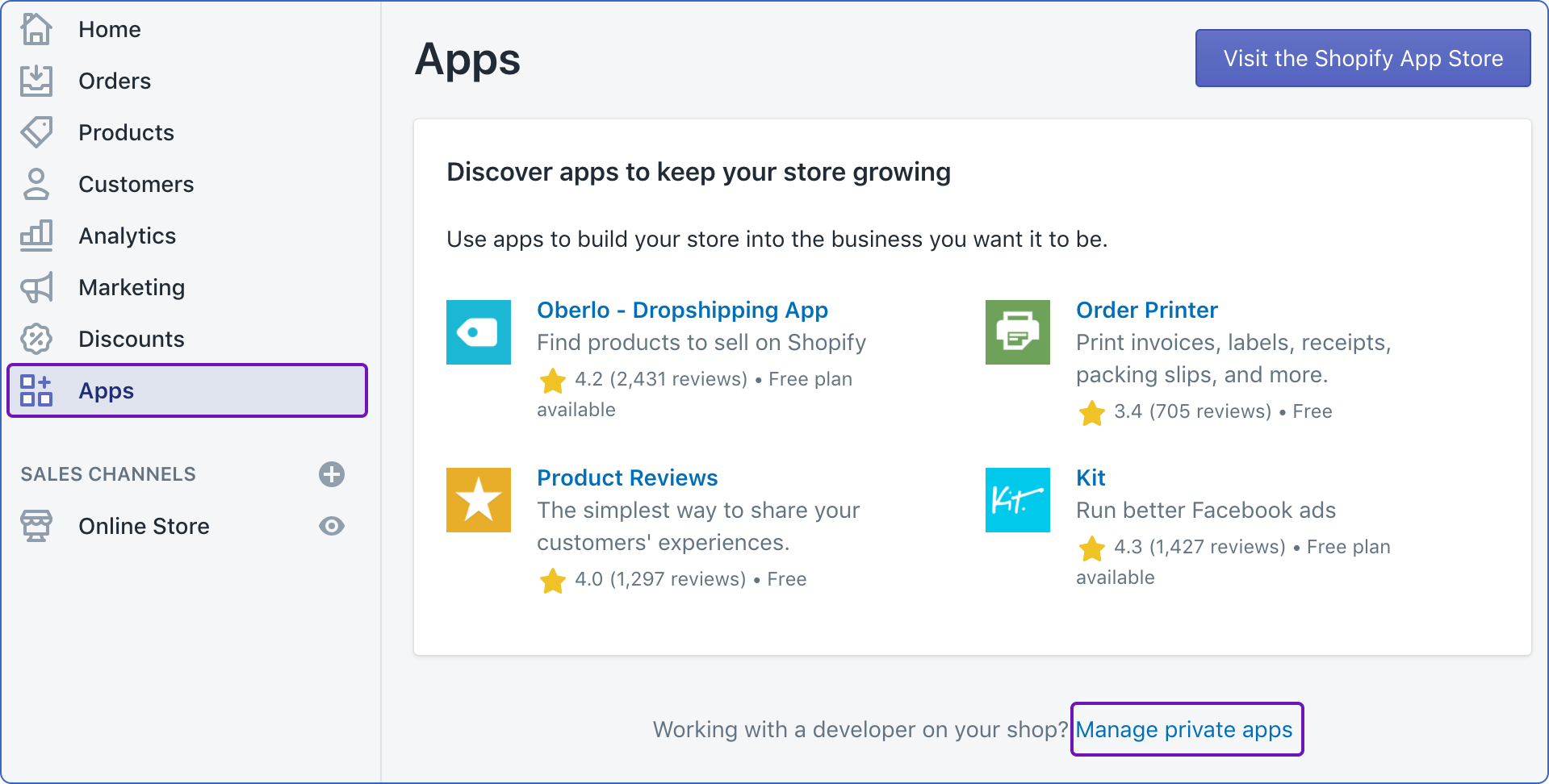 Manage private apps in Shopify