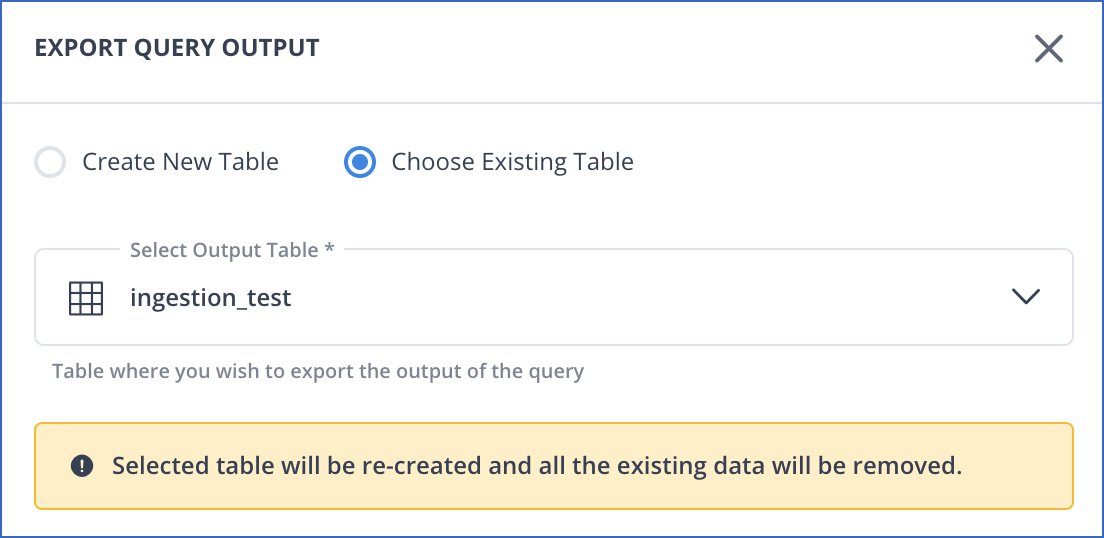 Table creation options for query export