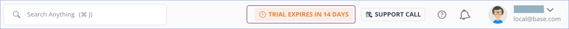 Number of days to trial expiry