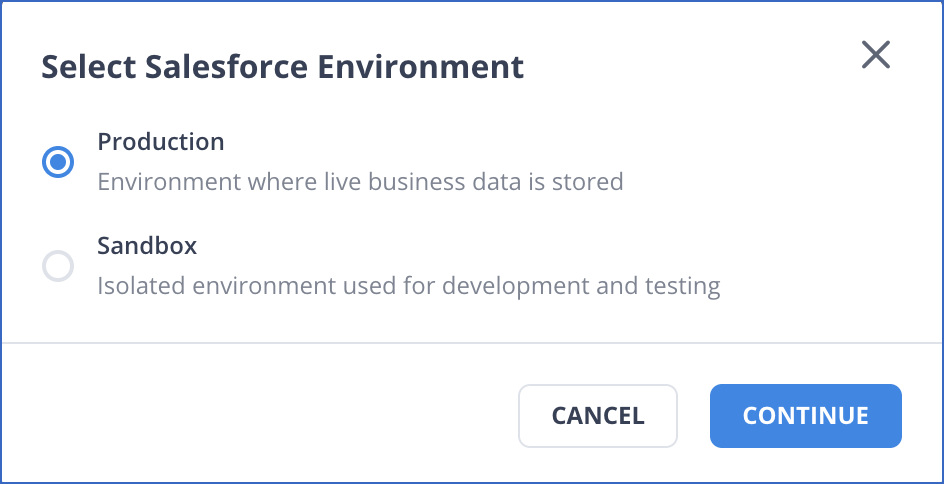 Select the Salesfore sandbox or production account