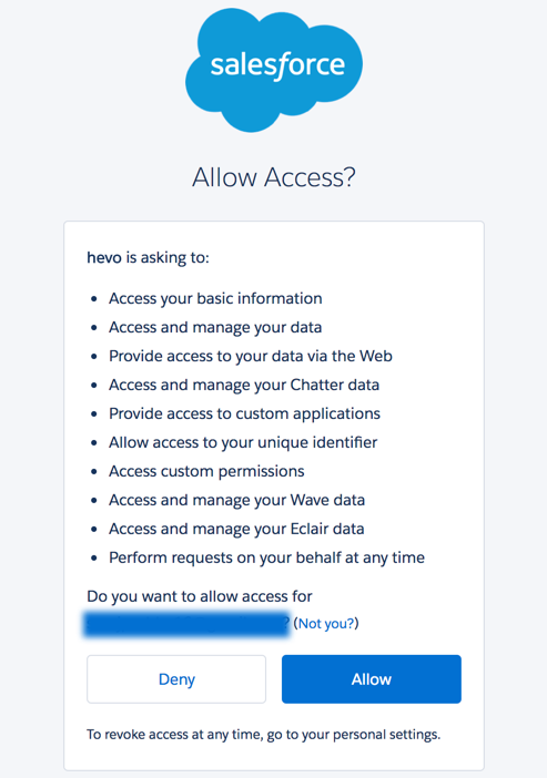 Authorize access for Hevo