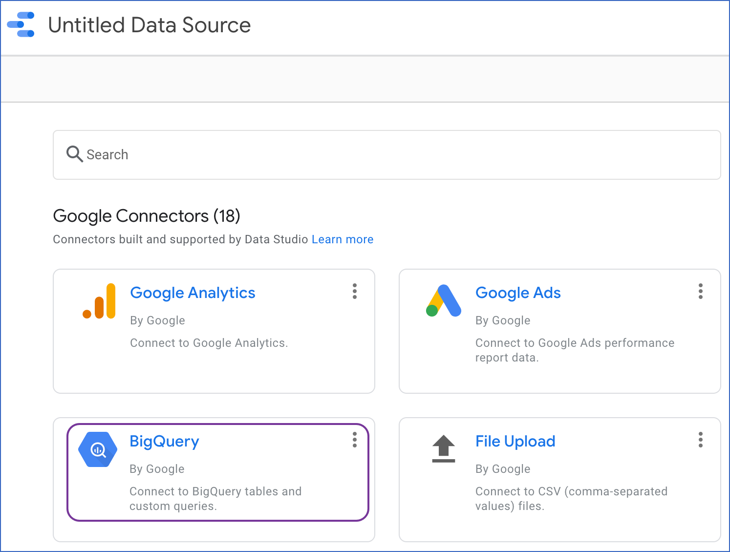 Select Google BigQuery Source