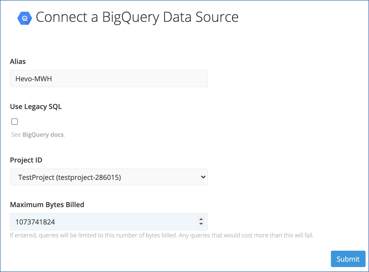 Connect BigQuery Data Source