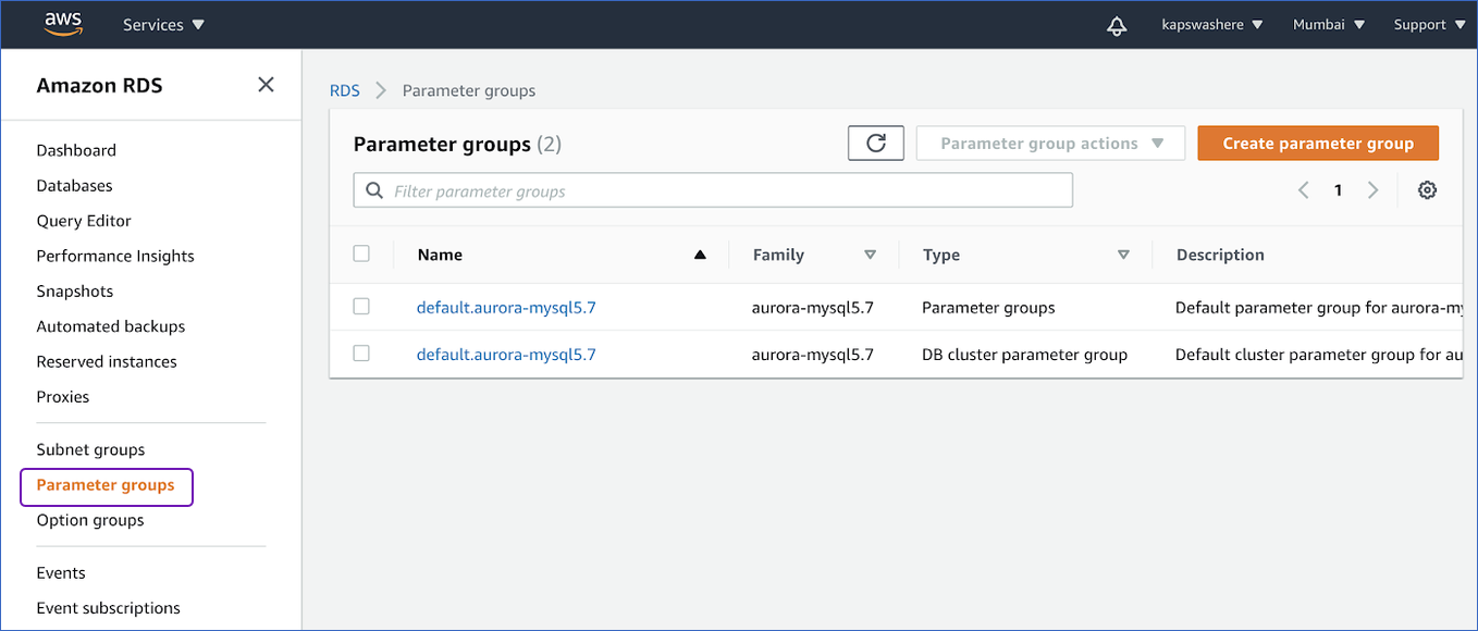 Select parameter groups