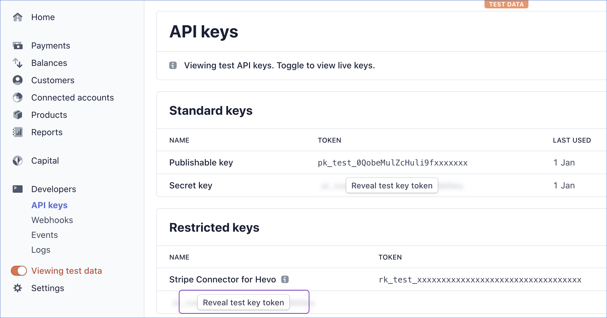 Reveal API Key