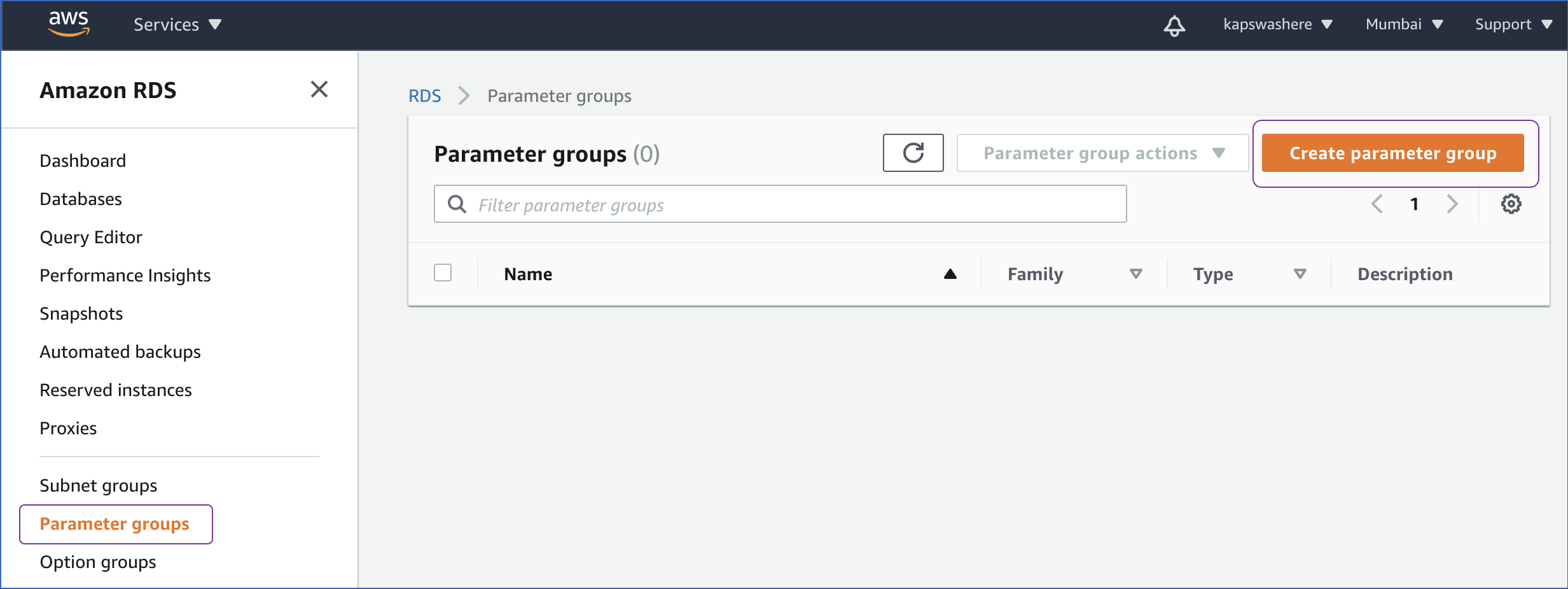 Parameter groups