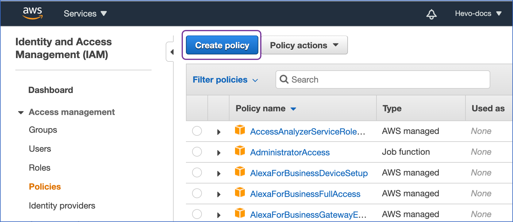Create Policy link