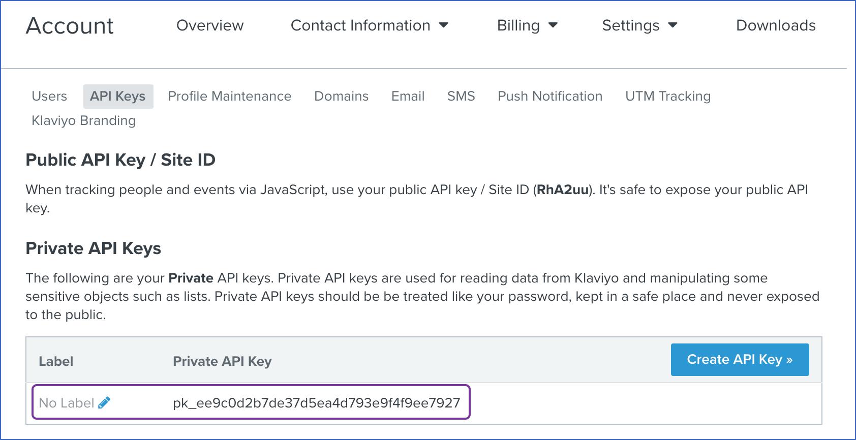 New API Key without Label
