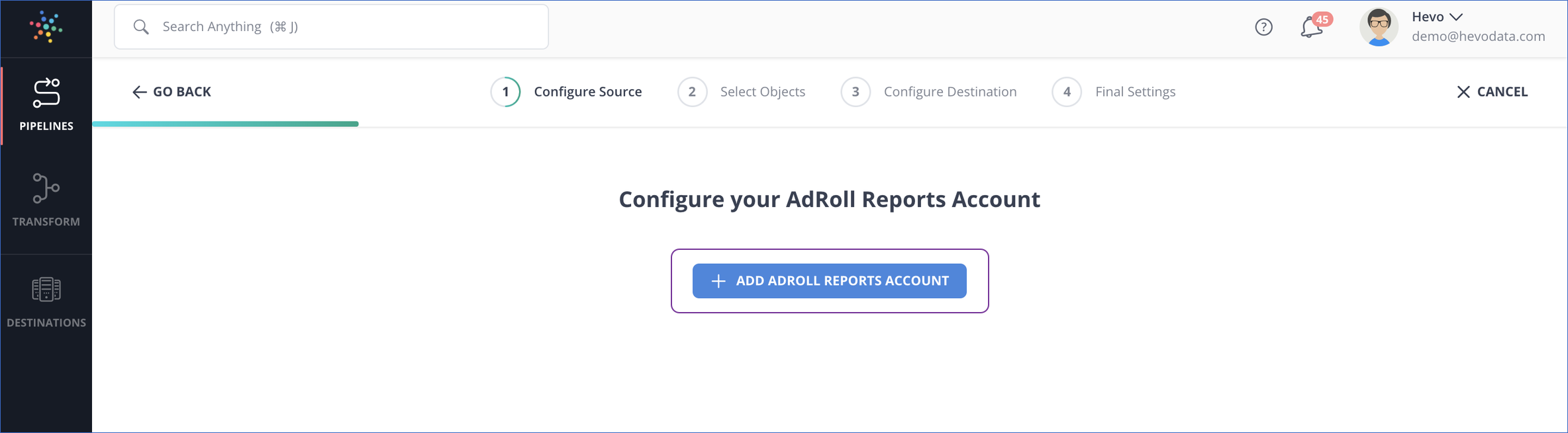 Add AdRoll Reports account
