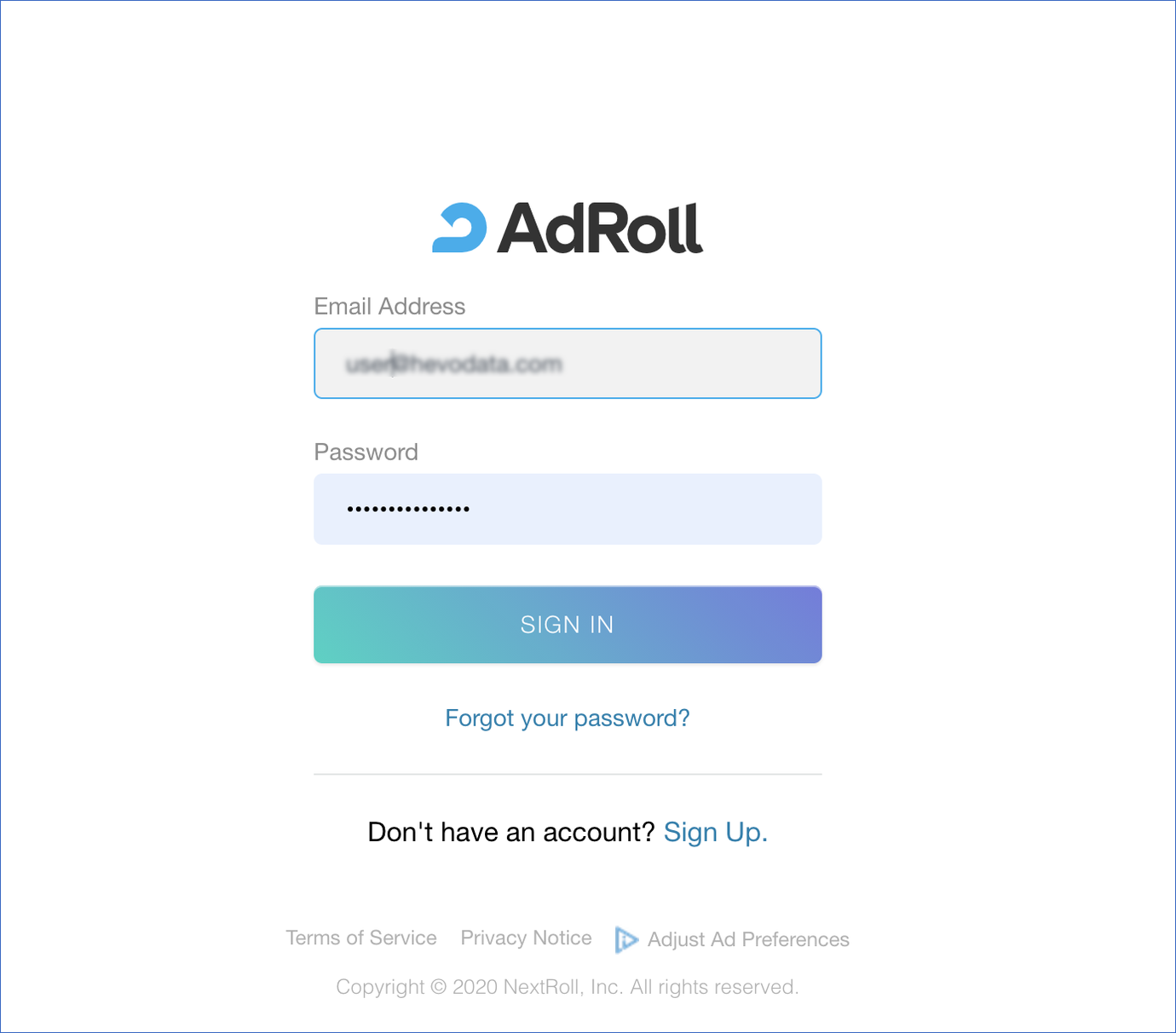 Sign-in to AdRoll Reports account
