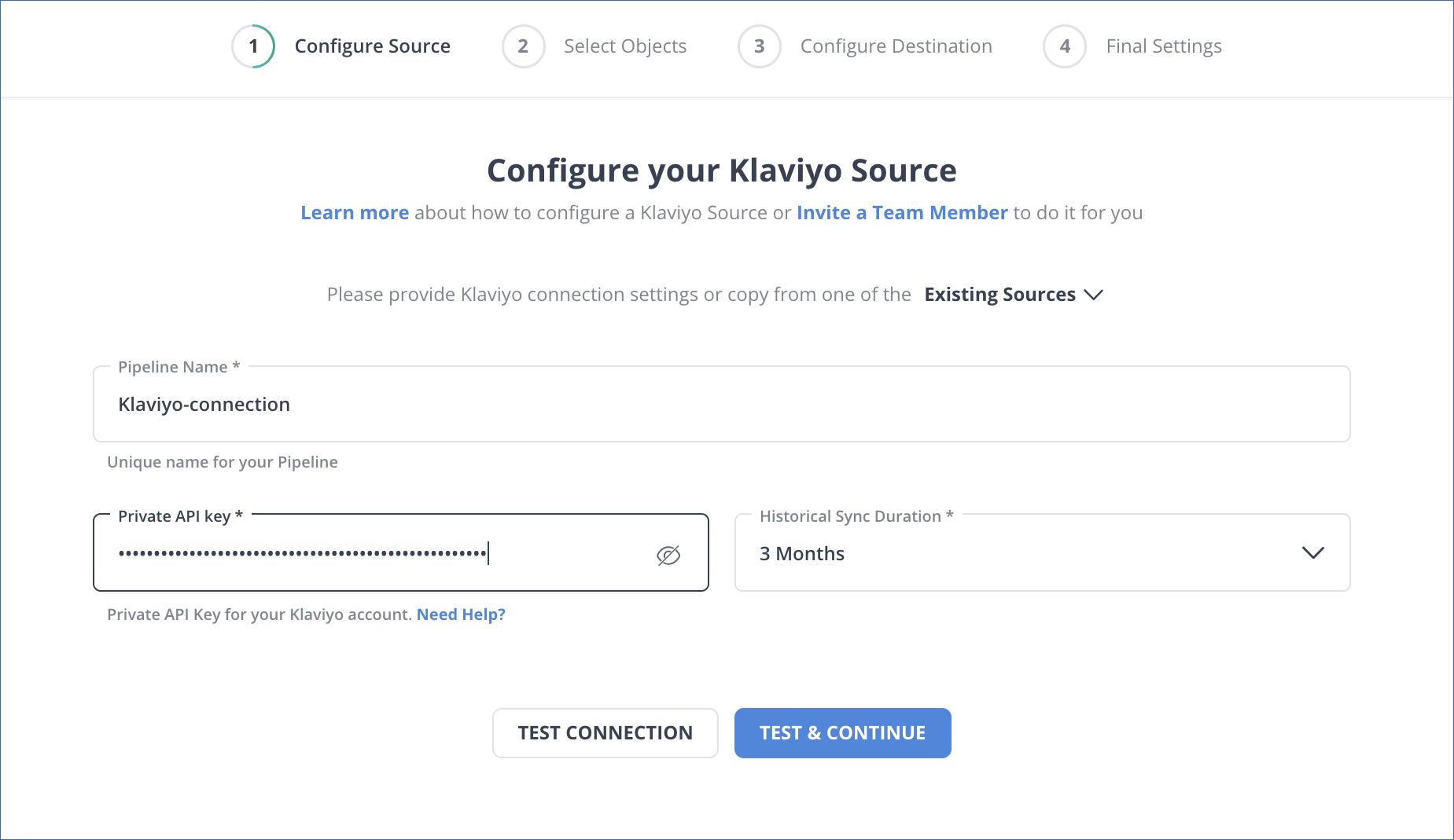 Source settings