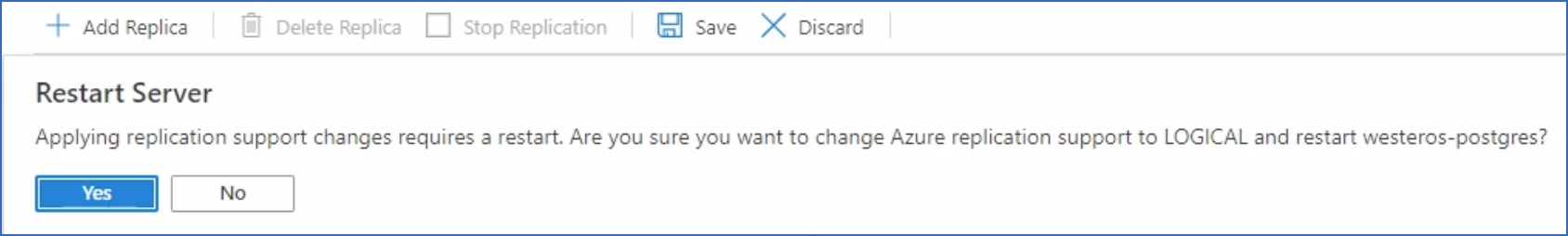 server restart message